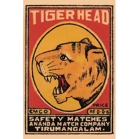 A brand of matches made in India for export featuring a tiger on the box top art Poster Print by (Best Bank For Export Business In India)
