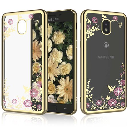 "Njjex Phone Cases 5.5"" Samsung Galaxy J7 2018 / J7 Aero / J7 Aura / J7 Crown / J7 Top / J7 Refine / J7 Eon / J7 Star, 2-Piece Retro Flower Pattern Slim Transparent Bling Diamond Soft Case Cover"