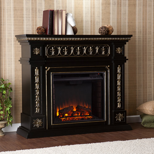 Duncan Electric Fireplace, Black w/ Gold Accents - Walmart.com