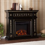 Duncan Electric Fireplace, Black w/ Gold Accents