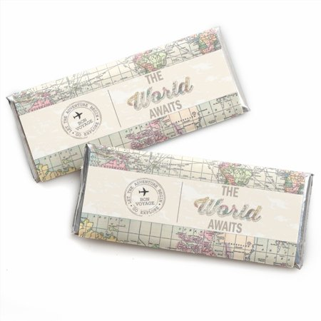 World Parts - World Awaits -Travel Candy Bar Wrappers Party Favors - Set of 24