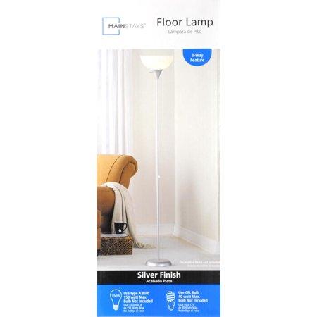 Quotmainstays 71quotquot floor lamp silverquot best floor lamps for Mainstays 3 way floor lamp