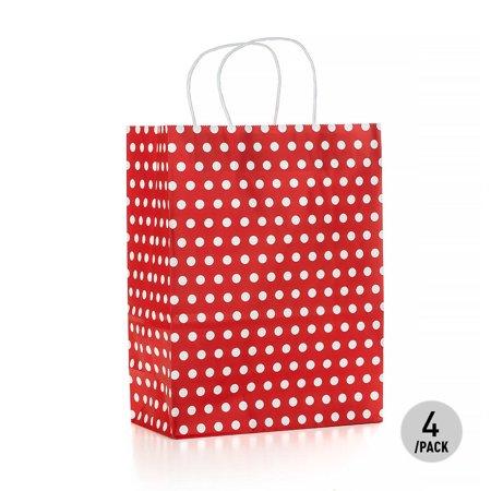 LIVINGbasics Gift Bag Kraft Paper Bag Polka Dot Bag - Large, 4Pcs - image 1 of 1