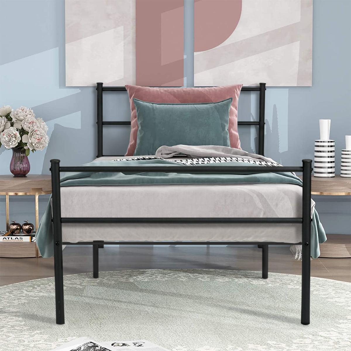 Aingoo Bed Frame Twin Size Metal Platform Bed With Two Headboards Black Walmart Com Walmart Com