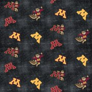 University of Minnesota Flannel Fabric with Distressed Ground and logo and mascot print-100% cotton-Sold by the Yard