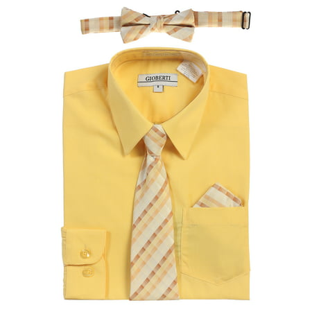 Gioberti Boy's Long Sleeve Dress Shirt and Tie - Traditional Greek Outfit