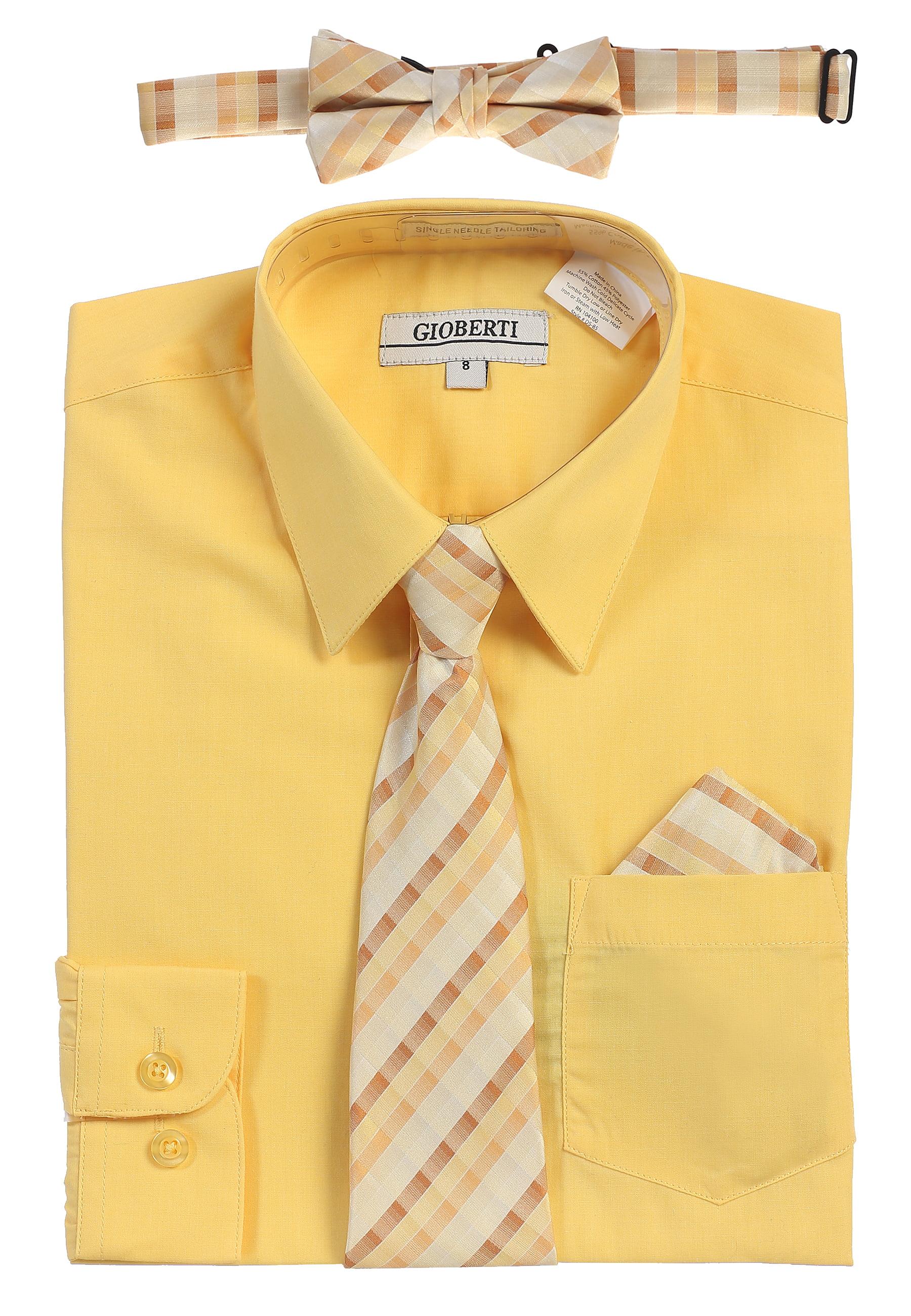 Gioberti Boy's Long Sleeve Dress Shirt and Tie Set