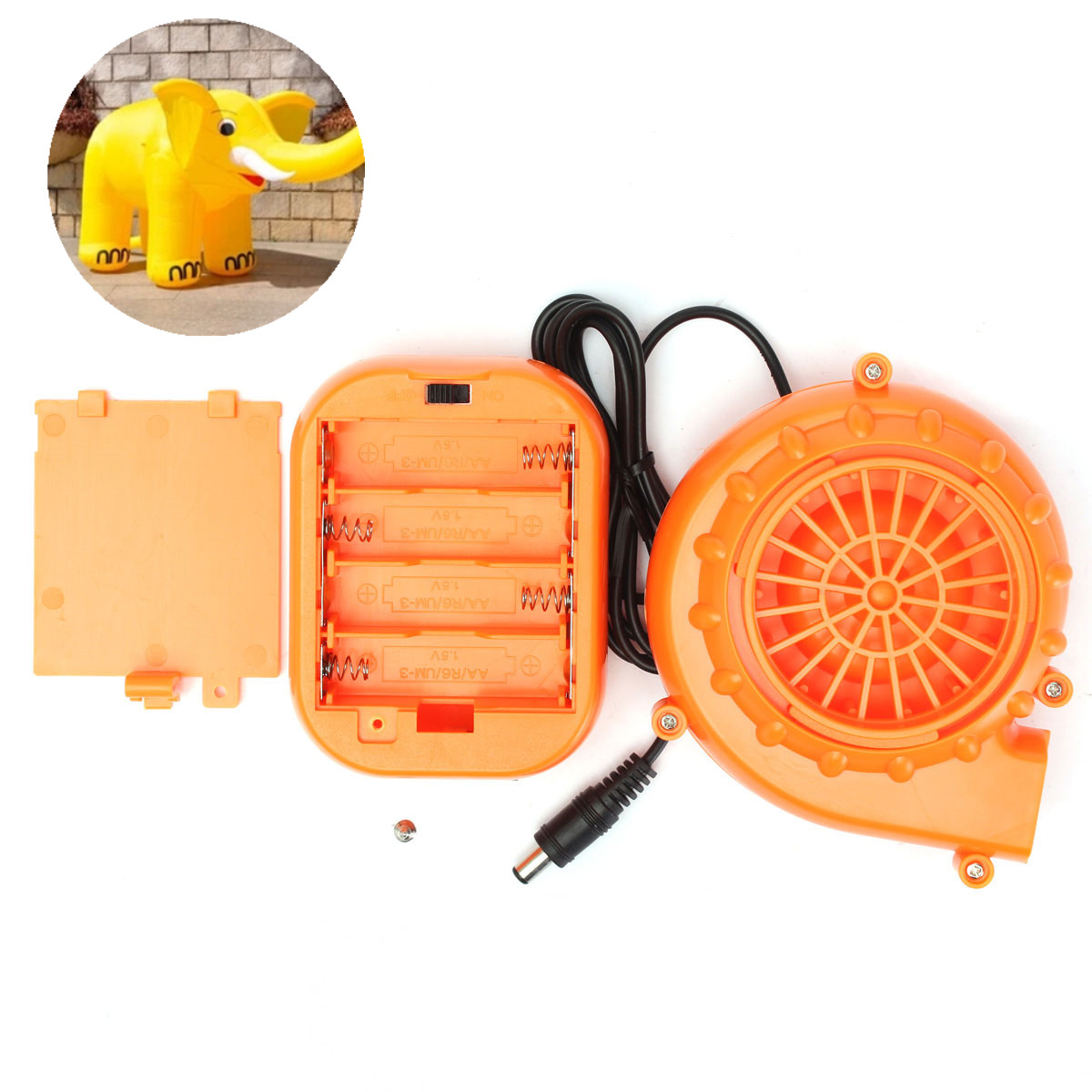 Orange Mini Fan Portable Fans Blower for Mascot Head Inflatable Costume 6V 4.8W Powered by Dry Battery