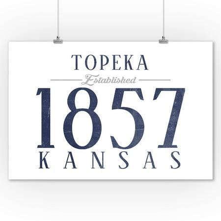 Topeka, Kansas - Established Date (Blue) - Lantern Press Artwork (9x12 Art Print, Wall Decor Travel (Topeka Mall)