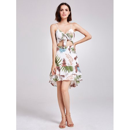 Alisa Pan Women's Fashion Hollow Out Tropical Print High Low Sun Beach Holiday Summer Dresses for Women 05938