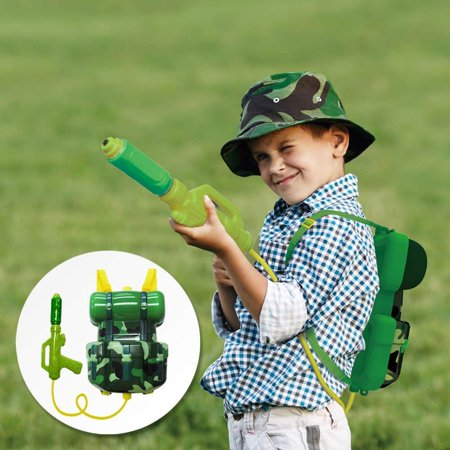 Nai-B Milistar Water Gun Backpack for Kids and Toddlers. Super Soaker Squirt Gun, Water Blaster and Shooter Toy [Forest]