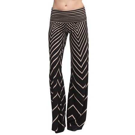 Black Ivory Sexy Aztec Chevron Print High Waist Knit Palazzo Wide Leg Pants ()