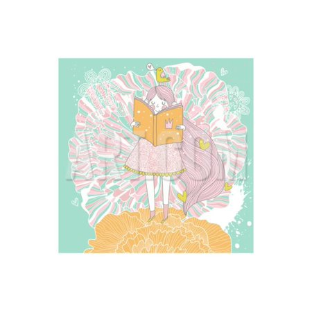 Pastel Princess (Cute Small Princess Reading a Book on Flower. Pastel Colored Girl with a Book and Colorful Ranuncul Print Wall Art By)