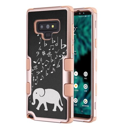 For Samsung Galaxy Note 9 Case, OneToughShield ® ShockProof 3-Layer Protective Phone Case Cover (Rose Gold Color) - Elephant Music (Music Design Note 3 Cases)