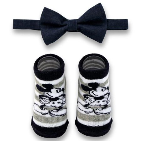 Disney Baby Boys Mickey Mouse Character Bow Tie and Striped Socks Gift Set, Age 0-12M