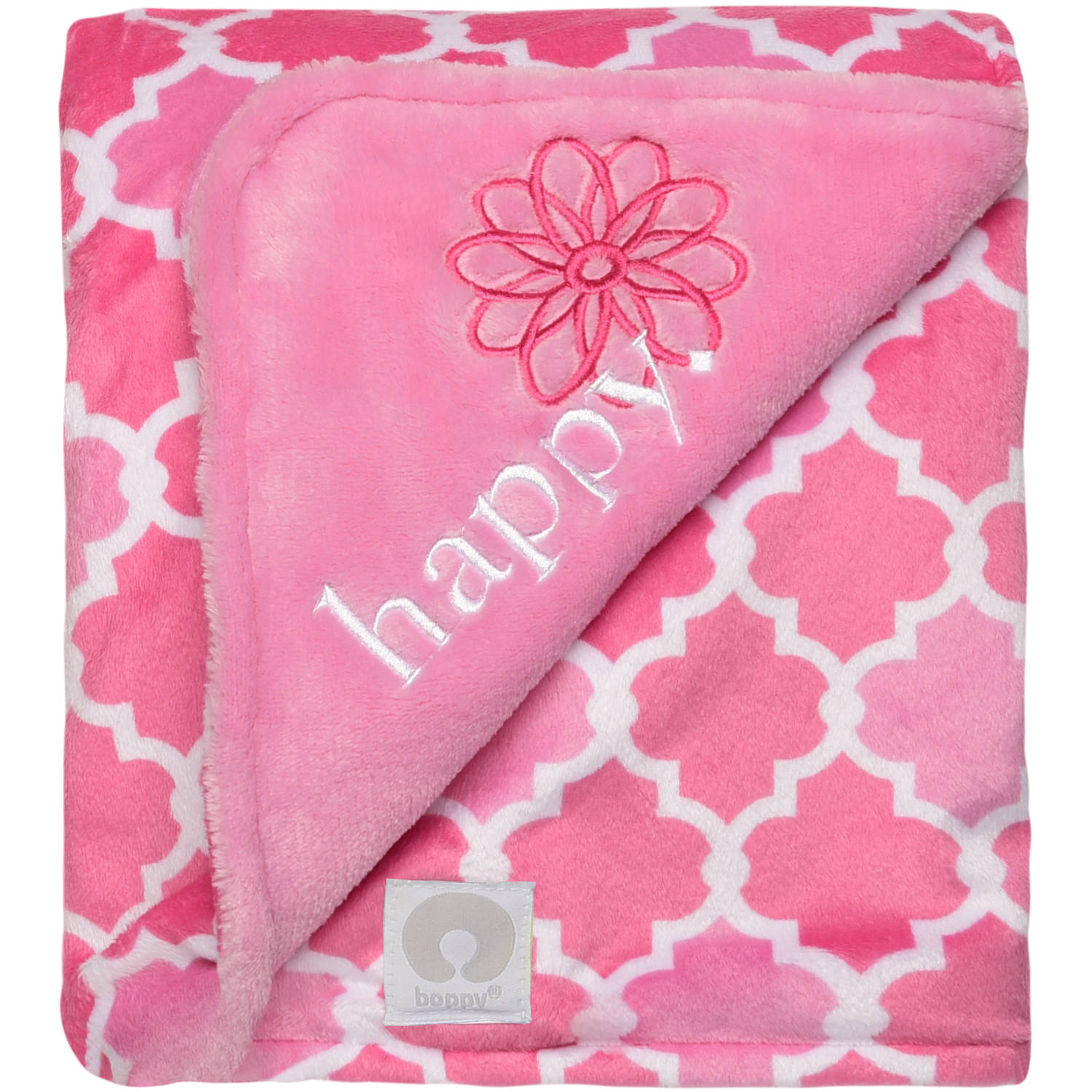 Boppy Luxurious Plush Reversible Appliqued Blanket, Happy/Lattice Print