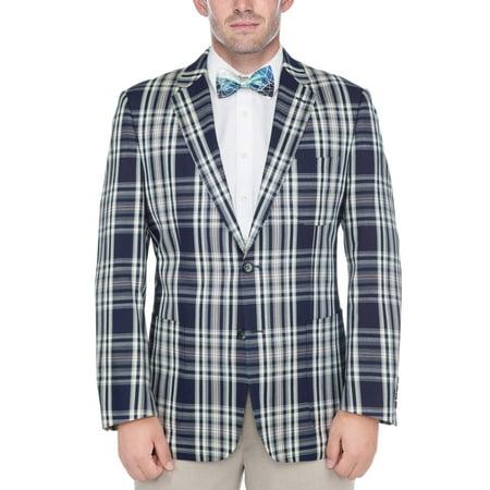 (Men's Navy Blue and White Madras Plaid 100-percent Cotton Classic Sports Coat)