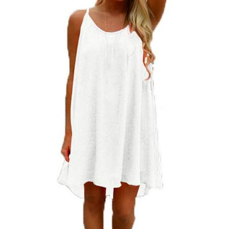 Celmia Women's Sleeveless Beach Chiffon Casual Halter Mini Dress