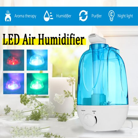 Ultrasonic Humidifier Cool Mist Best Air Humidifiers for Bedroom / Living Room / Baby with LED Night Light  Aroma Diffuser 4Color Home Office Large 4L Water Tank Auto Shut