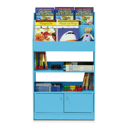 Furinno KidKanac Kids Bookshelf, 4 Tier with Cabinet, Multiple Colors Display Cabinet 4 Tier