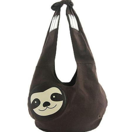 Vegas Purse (Sleepyville Critters Hang Loose Sloth Shape Canvas Vegan Hobo Shoulder Bag Purse )