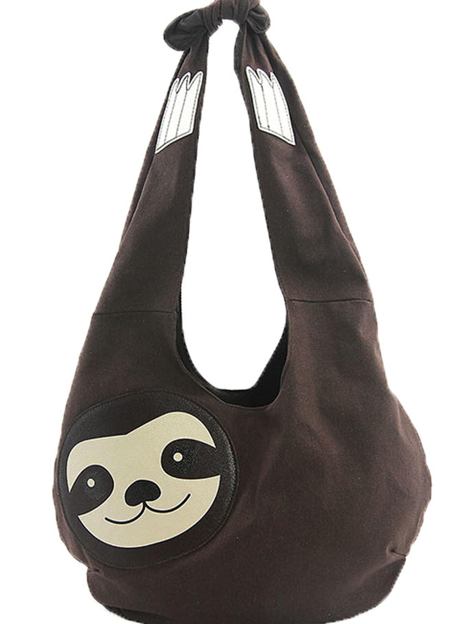 Sleepyville Critters Hang Loose Sloth Shape Canvas Vegan Hobo Shoulder Bag Purse