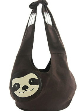 Product Image Sleepyville Critters Hang Loose Sloth Shape Canvas Vegan Hobo Shoulder  Bag Purse 40a058be532e5