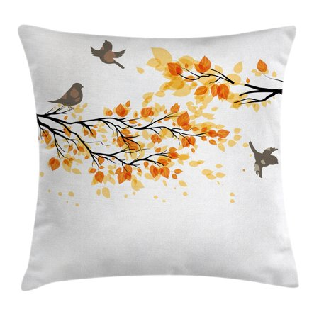 Fall Decorations Throw Pillow Cushion Cover, Branch with Pale Fall Leaves and Birds Change in Season Summer Print, Decorative Square Accent Pillow Case, 18 X 18 Inches, Yellow Grey, by Ambesonne - Fall Season Decorations