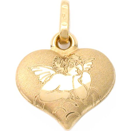 14k Gold Angel Friend Heart Charm Religious Jewelry ()