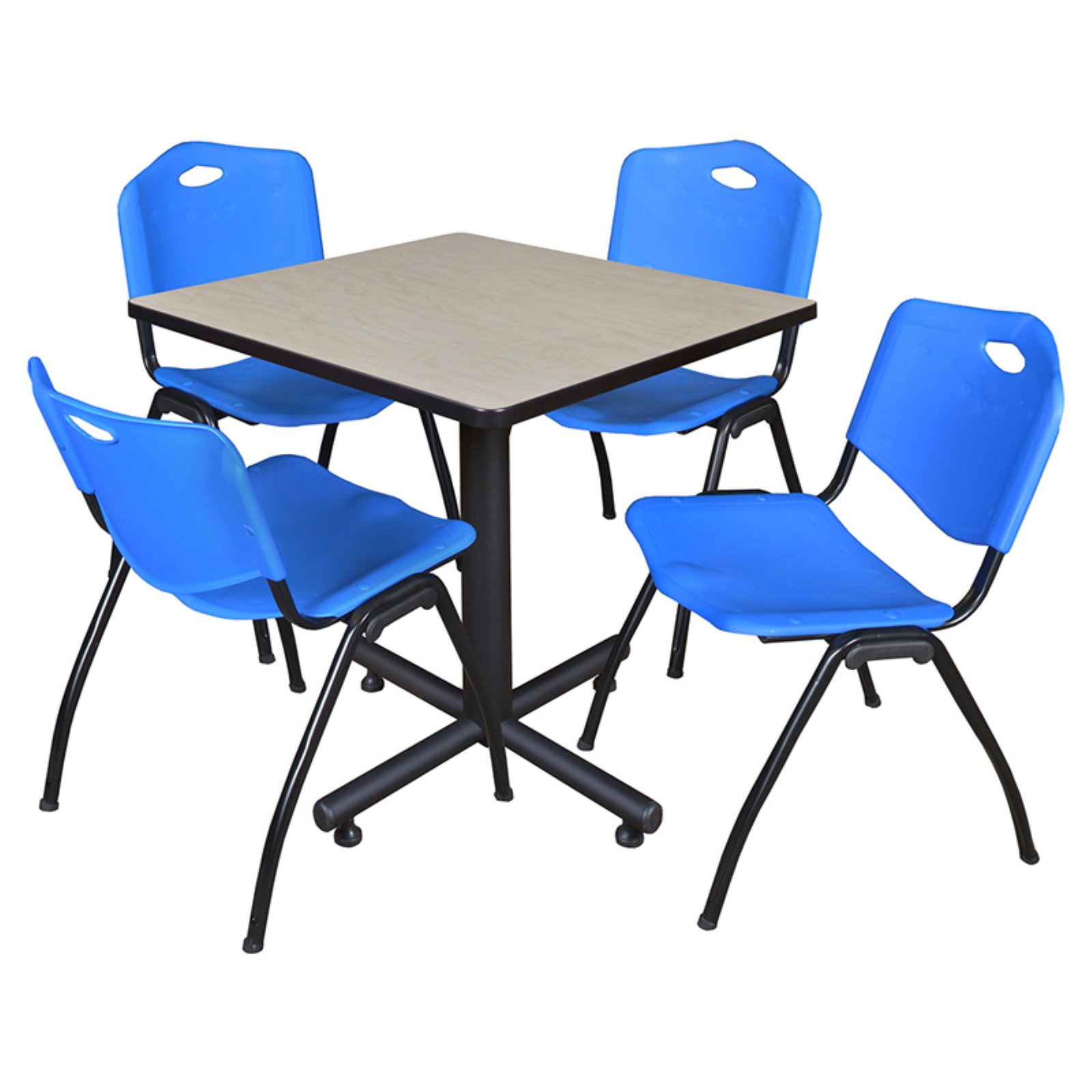 "Kobe 30"" Maple Square Breakroom Table and 4 'M' Stack Chairs, Multiple Colors"