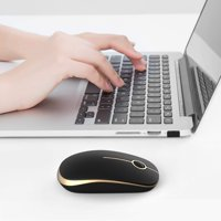 Wireless Mouse, 2.4G Slim Portable Computer Mice with Nano Receiver for Notebook, PC, Laptop, Computer - Black and Godd