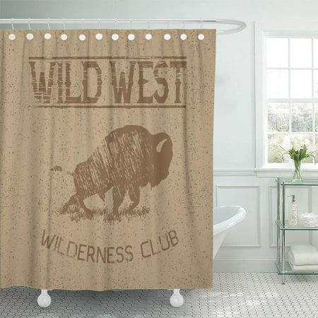 XDDJA West Western Vintage Label Bison Buffalo Wild for Bull Shower Curtain 66x72 inch - image 1 de 1