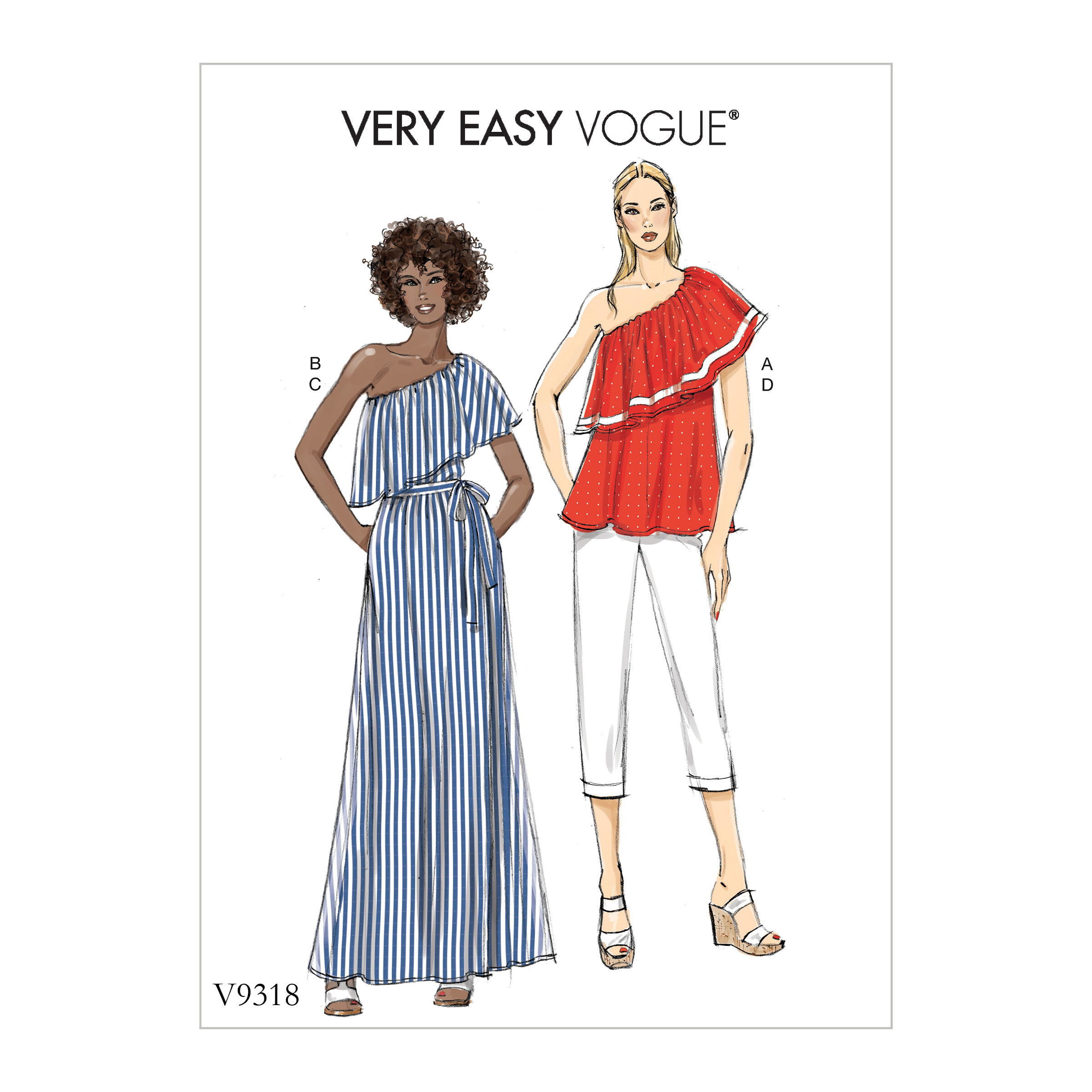 Vogue Patterns Sewing Pattern Misses' Top, Skirt and Pants-L-XL-XXL
