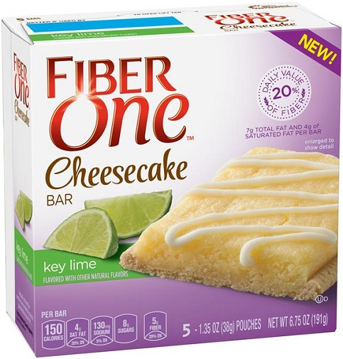 Fiber One Key Lime Cheesecake Bars 5-1.35 oz. Wrappers by General Mills Sales, Inc.