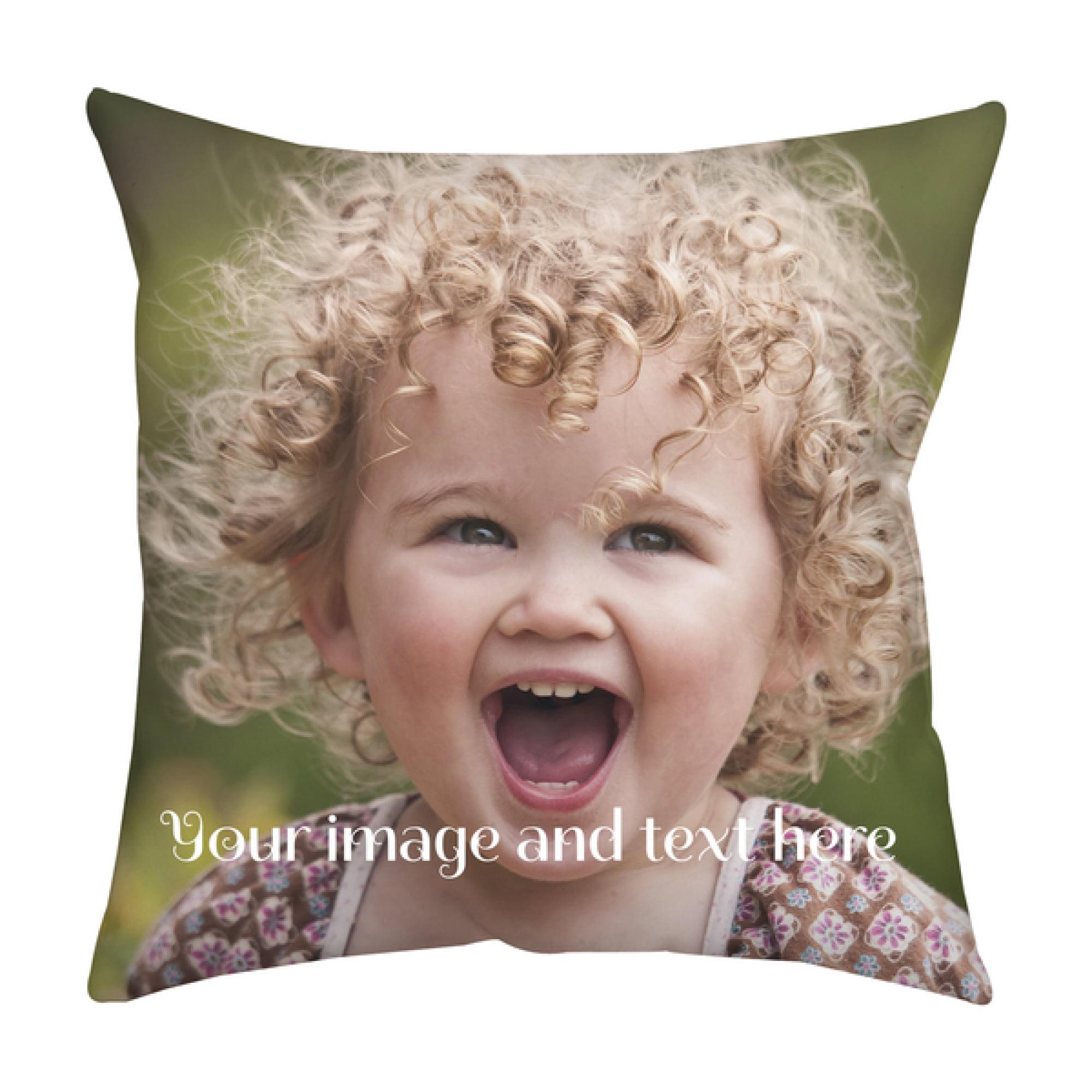 Personalized Photo Burlap Pillow-2 sided print-zipper