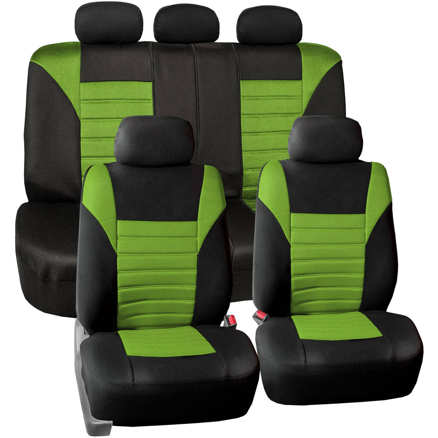 FH Group Universal Fit Premium Airbag Compatible 3D Air Mesh Full Set Seat Covers, Green