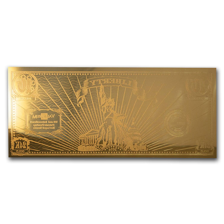 Valaurum Lady Liberty Design, 1//10 gram 24K Gold Note