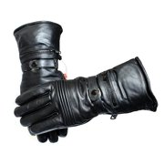 Perrini Motorcycle Leather Winter Gloves Cowhide Heavy Duty Lined w/ Pockets