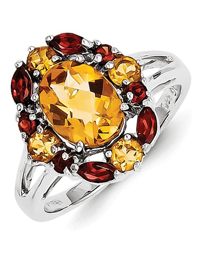 925 Sterling Silver Citrine & Garnet Multi Gem Bezel Ring by gemaffair