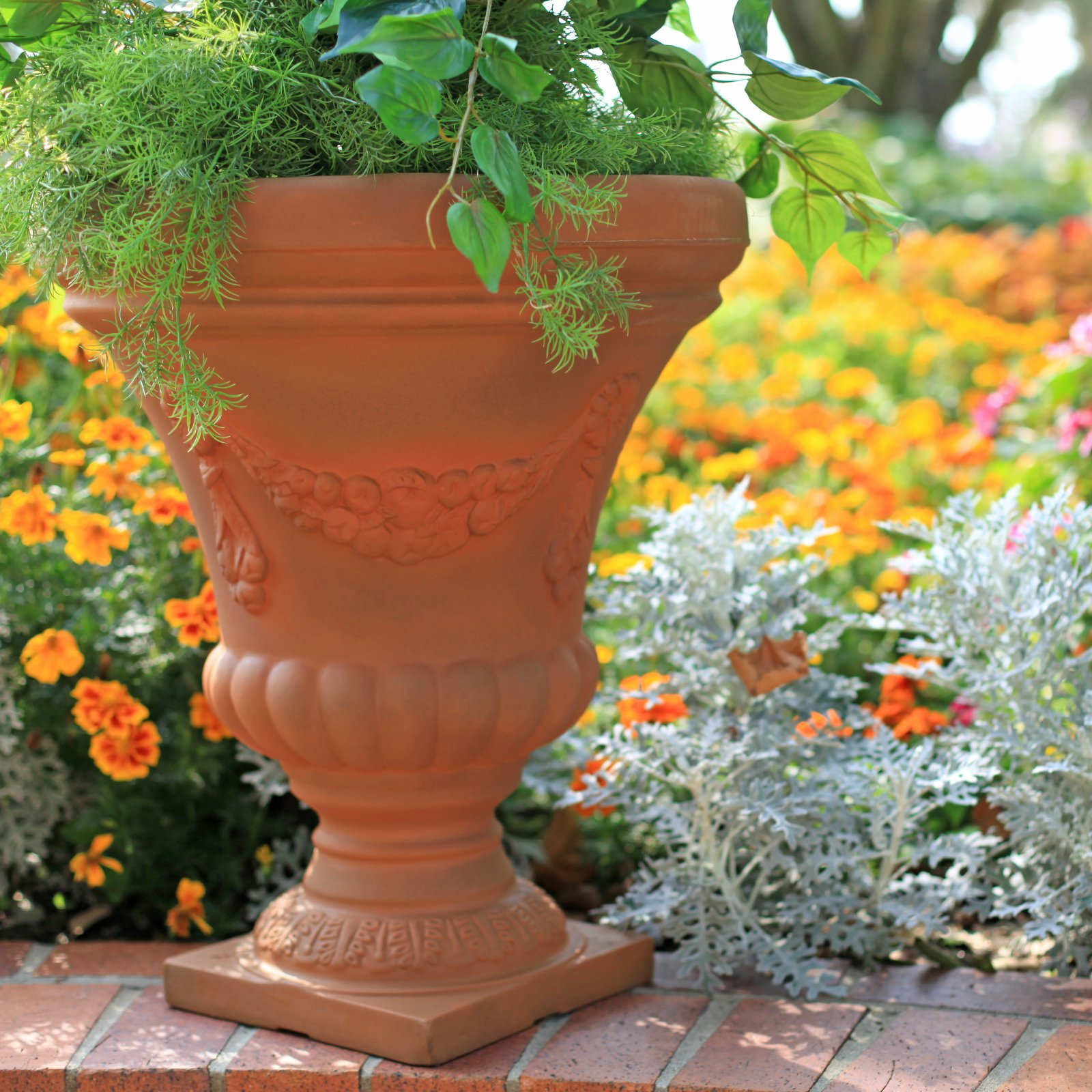 Rust Round Resin Festonada Urn by Urns