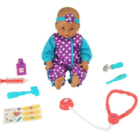 My Sweet Love 16-piece Purple & Teal Baby Doll Doctor Play Set - Black Baby Doll