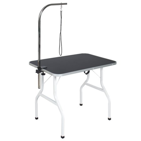 Best Choice Products Folding Pet Grooming Table, Black/Gray, with Adjustable Arm, Removable C-Clamp, and Heavy Duty