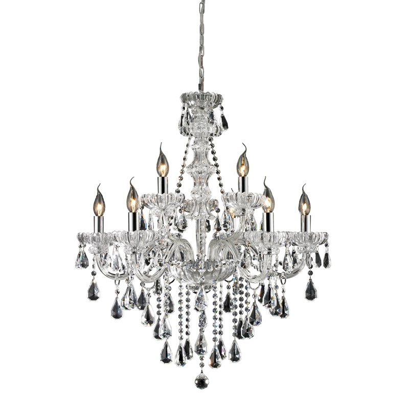 Nulco Lighting Cotswold 80063/6+3 6+3 Light Crystal Chandelier in Clear & Chrome Finish