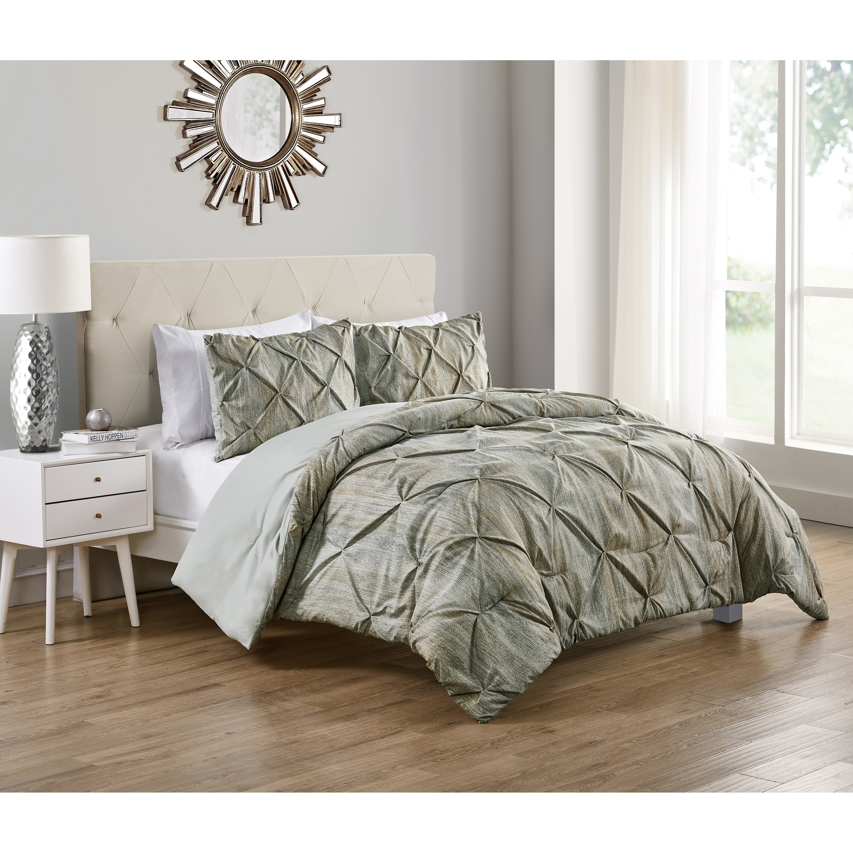 Vcny Home Distressed Karla Beige Pintuck Pleat Duvet Cover Set King Beige Walmart Com Walmart Com