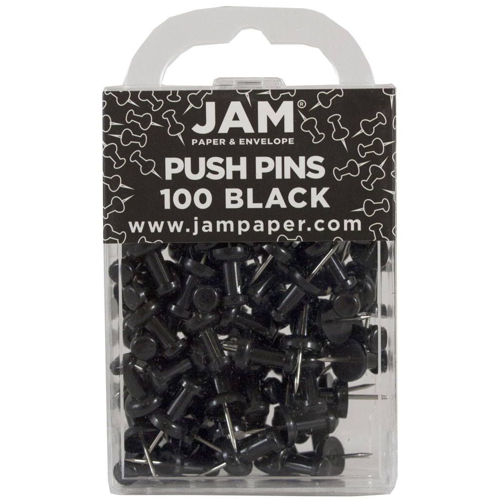 JAM Paper Push Pins, Black PushPins, 100/Pack