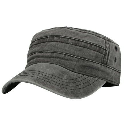 WITHMOONS Cadet Caps Vintage Washed Cotton Army Hat For Unisex KZ40037 (Grey)](Grad Hat)