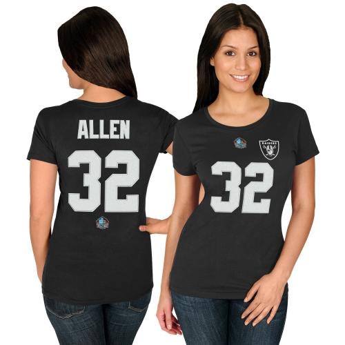 Marcus Allen Oakland Raiders Majestic Women's Hall of Fame Fair Catch V T-Shirt - Black