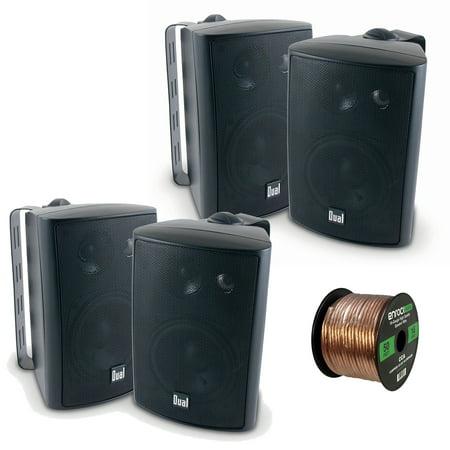 4x Dual Electronics LU47PB 4 Inch 100-Watt 3-Way Indoor / Outdoor High Performance Bookshelf Studio Monitor Black Speakers w/ Swivel Brackets , Enrock 16-G 50 Ft Audio Speaker