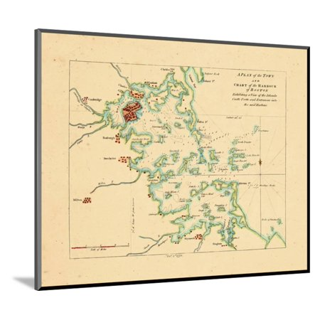 1775, Boston Harbor Chart, Massachusetts Wood Mounted Print Wall Art ()