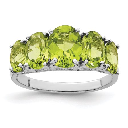 925 Sterling Silver Green Peridot Band Ring Size 8.00 Stone Gemstone Fine Jewelry Ideal Gifts For Women Gift Set From Heart